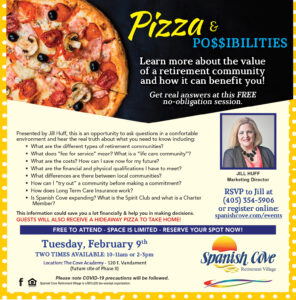 Pizza and Possibilities event Feb 2021 Spanish Cove